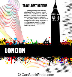 London grunge poster - London, vintage travel destination...