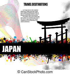 Japan grunge poster - Japan, vintage travel destination...
