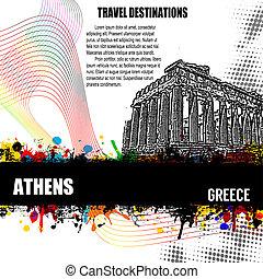 Athens grunge poster - Athens, vintage travel destination...