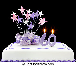 60th Cake - Fancy cake with number 60 candles. Decorated...