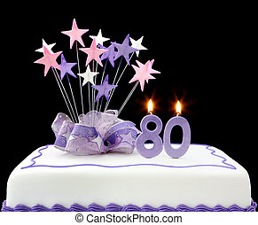 80th Cake - Fancy cake with number 80 candles Decorated with...