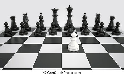 White pawn before the army of black chess pieces gray...