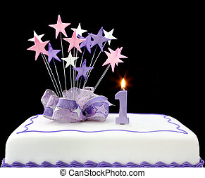 1st Cake - Fancy cake with number one candle. Decorated with...
