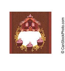 Gingerbread house , vintage frame