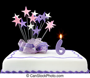 Number 6 Cake - Fancy cake with number 6 candle. Decorated...