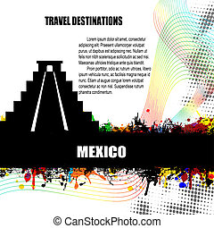 Mexico grunge poster - Mexico , vintage travel destination...