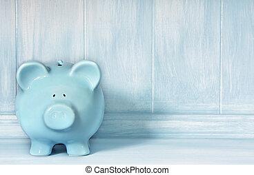 Blue Piggybank - Blue piggybank with blue brushed timber...