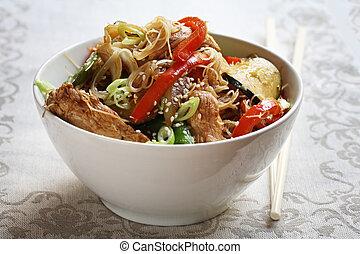 Stir-Fry - Bowl of chicken or pork stir-fry, with vegetables...