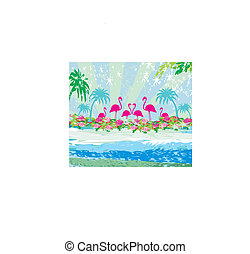 Abstract card with flamingos and nature