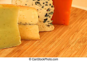 French cheese - Various types of french cheese on wooden...
