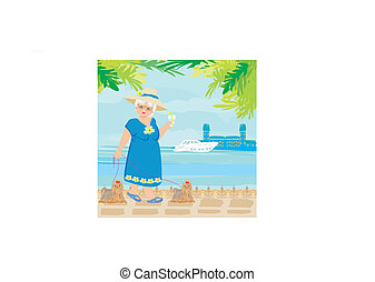 elegant senior woman on vacation in the tropics