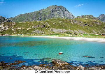 Beautiful view to Eggum beach in Norway, Lofoten islands