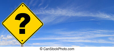 Question Mark Road Sign - Road sign with question mark,...
