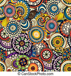 Seamless flower background pattern in vector. - Seamless...