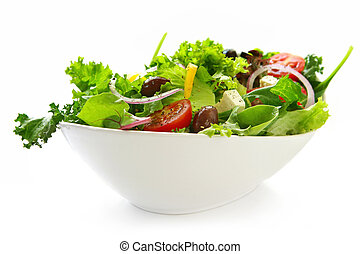 Salad - Healthy green salad, in stylish white bowl Isolated...