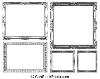 Picture Frame - Silver picture frame isolated on white...