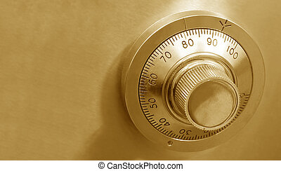 Golden Safe Lock - Combination safe lock, in golden tones.
