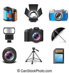 Fotografía, equipo, iconos, vector, Conjunto