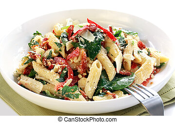 Pasta Salad - Pasta salad with spinach leaves, bell peppers,...