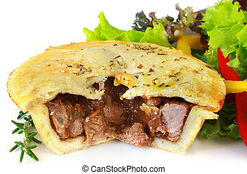 Lamb Pie - Small lamb and rosemary pie, with salad