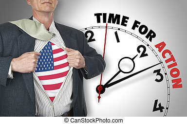 Businessman showing shirt with flag from USA suit against...