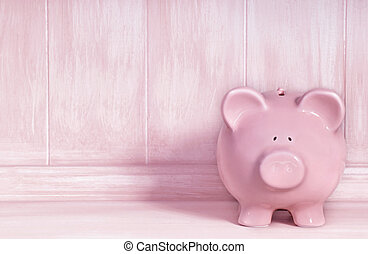 Pink Piggybank - Pink piggybank with brushed timber...