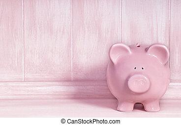 Pink Piggybank - Pink piggybank with brushed timber...