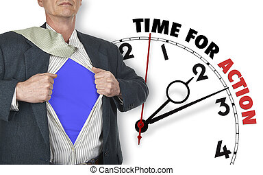 Businessman showing superhero suit against clock -...