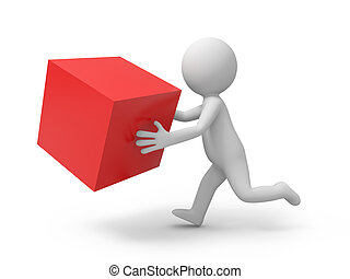 cube - A 3d people running, holding a red cube