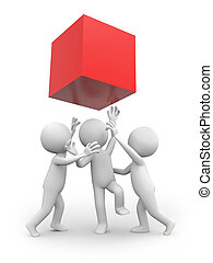 cube - Three 3d people snatching a red cube