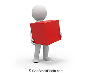 cube - A 3d people holding a red cube