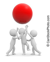 ball - Three 3d people snatching a red ball