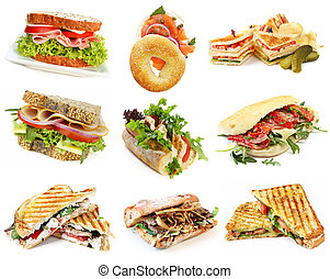 Sandwiches Collection - Collection of sandwiches, isolated...