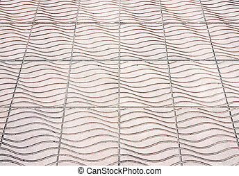 Wave pattern of tile pavement in the city.