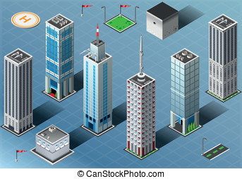 Isometric Buildings Set - Detailed illustration of a...