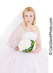 Blonde bride with bouquet isolated on white
