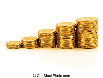 Coin Graph - Rising currency - stacks of gold coins...