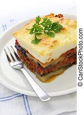 homemade moussaka, greece cuisine