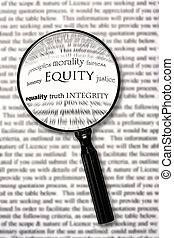 Equity - Magnifying glass over document, highlighting the...