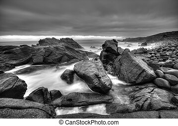 Rocky seascape monochrome