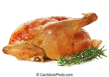 Roast Chicken - Roast chicken, isolated on white, with fresh...