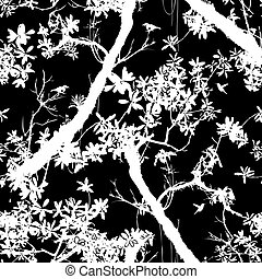 Seamless floral vector pattern with trees - Seamless floral...