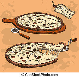Pizza. Hand drawn illustration
