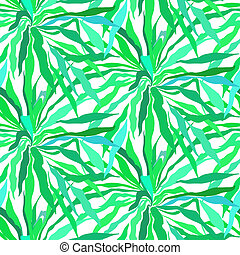 Seamless pattern with tropical palm leaves