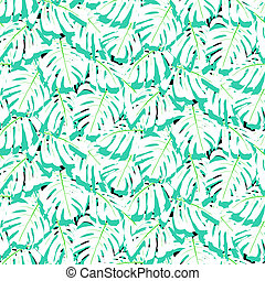 Seamless pattern with tropical leaves - Vector seamless...