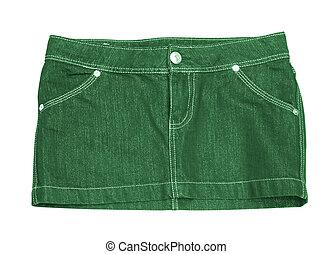 mini skirt - cotton green mini skirt isolated on white...