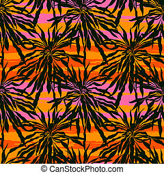 Vector seamless pattern with leaf's silhouettes