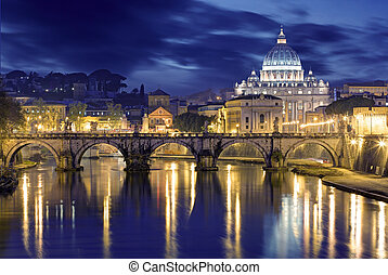 Night image of St. Peter's Basilica, Ponte Sant Angelo and...