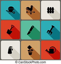 Flat icons set with long shadows