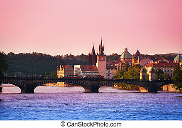 Sunset, Charles Bridge in Prague, Czech Republic